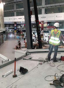 Trabajos de construcción en el Aeropuerto de Málaga zona VIP
